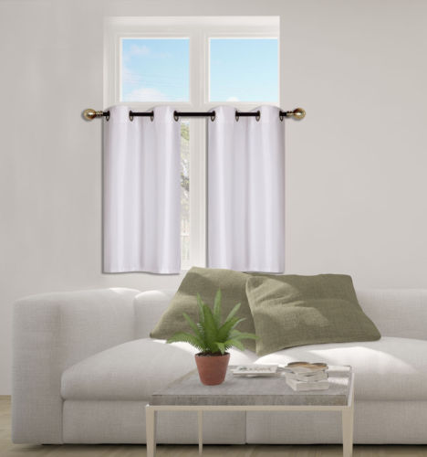 n25 white 1 set solid faux silk grommet top small window curtain 2 semi sheer tier panels 30 w x 36 l each tier