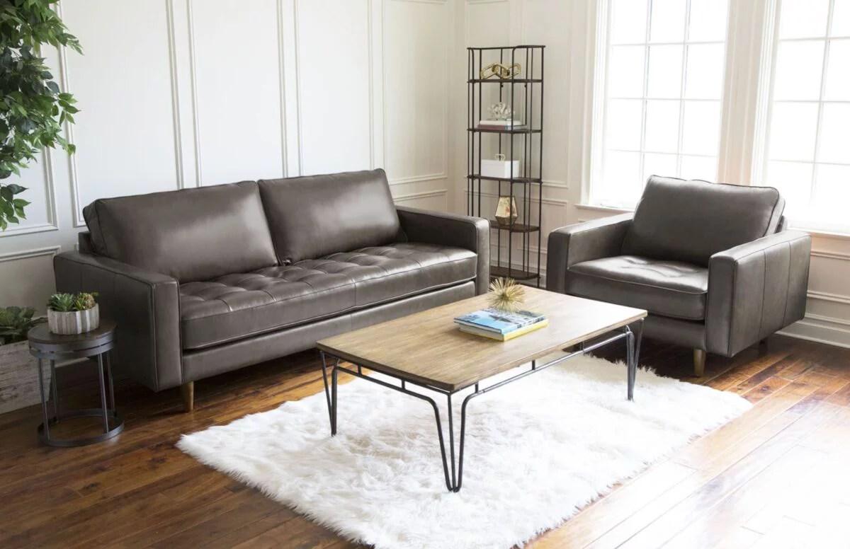 Westbury Mid Century Leather Sofa And Armchair 2 Piece Set Walmart Com Walmart Com