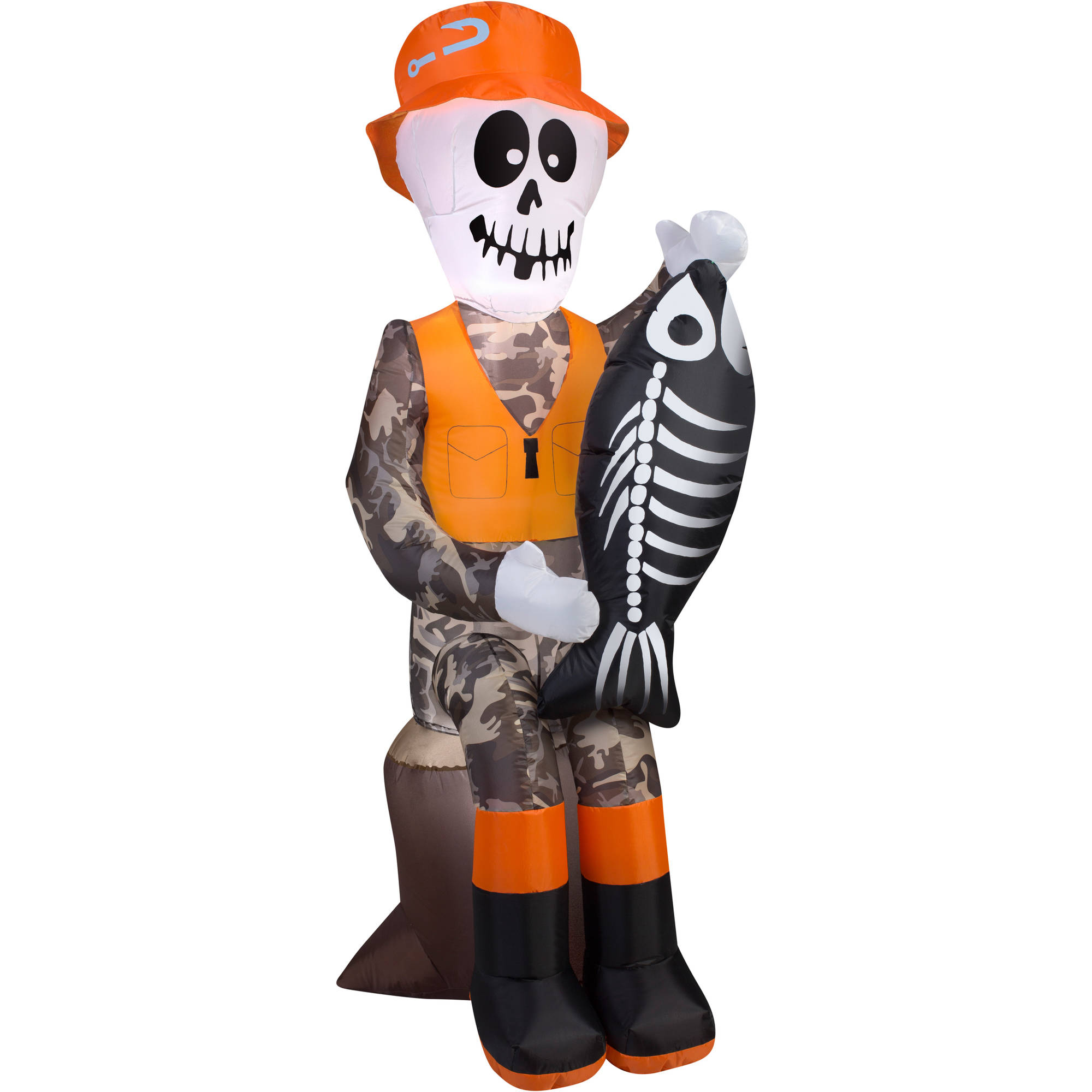Gemmy Airblown Inflatable 55 X 2 Fishing Skeleton