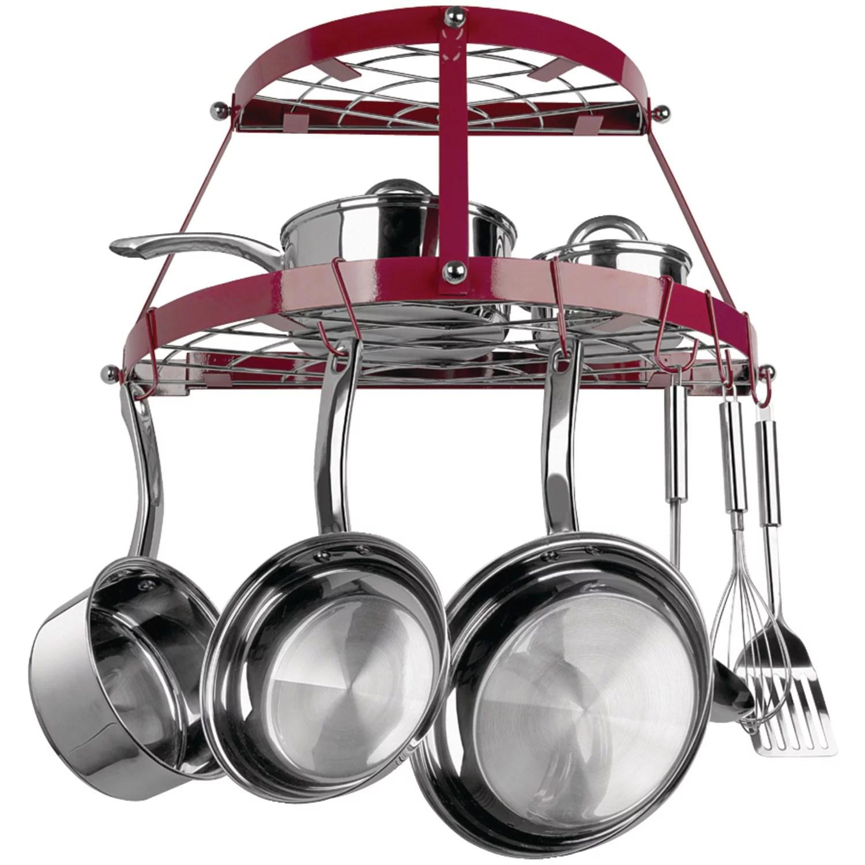 range kleen cw6003r double shelf wall mount pot rack red