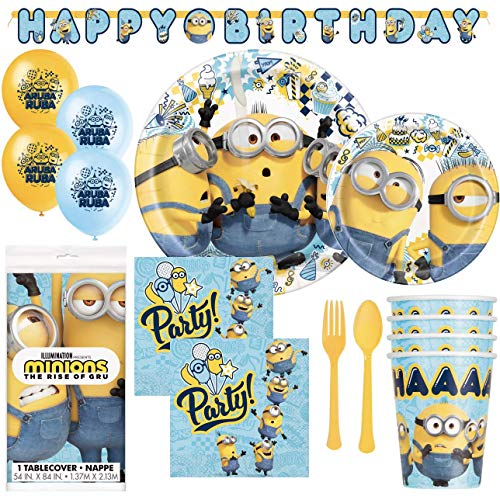 Minions 2 Despicable Me Birthday Party Supplies And Decorations For 16 Guests Plates Napkins Cups Table Cover Banner And Balloons Walmart Com Walmart Com