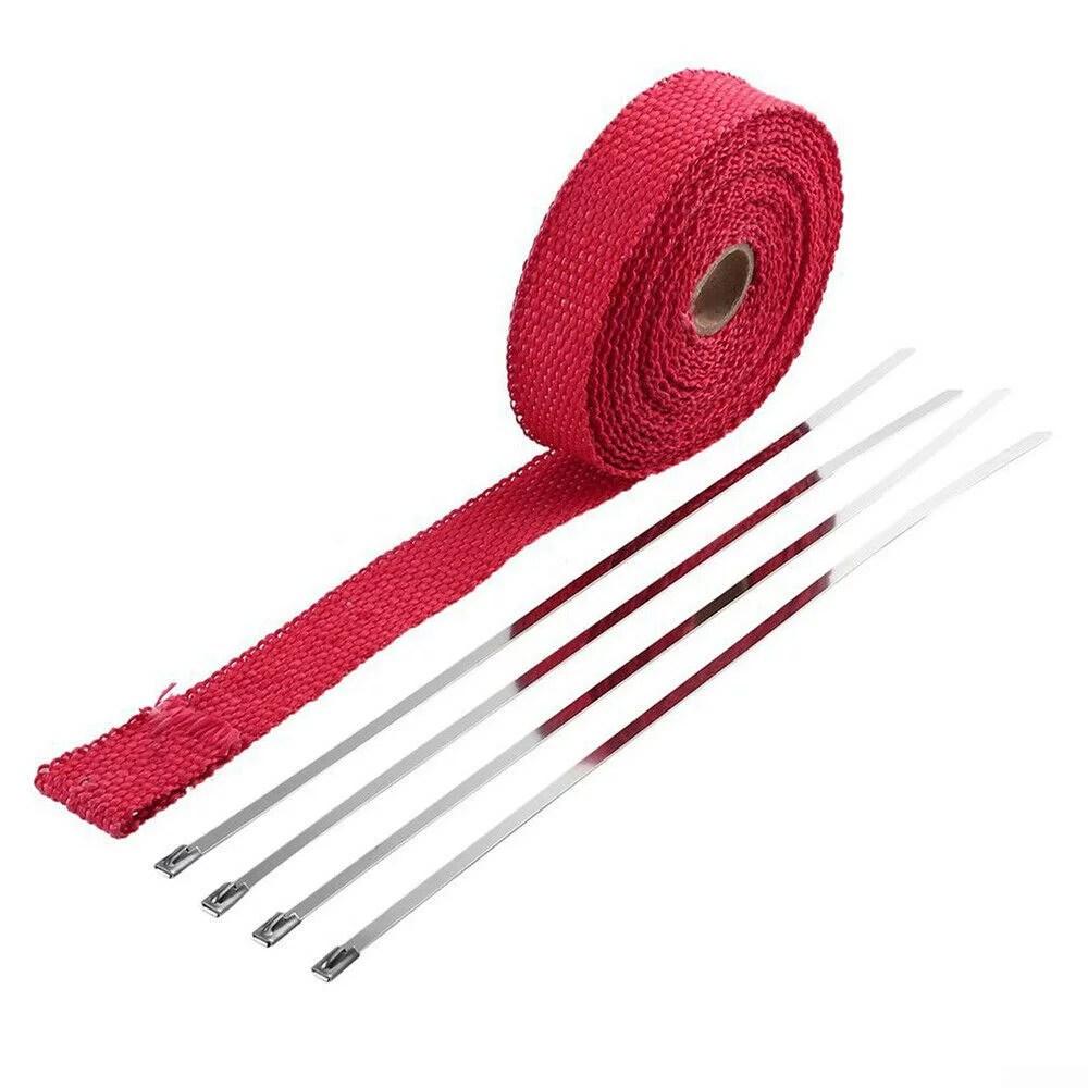 red fiberglass manifold exhaust wrap header pipe heat insulation tape roll 1 5m walmart com