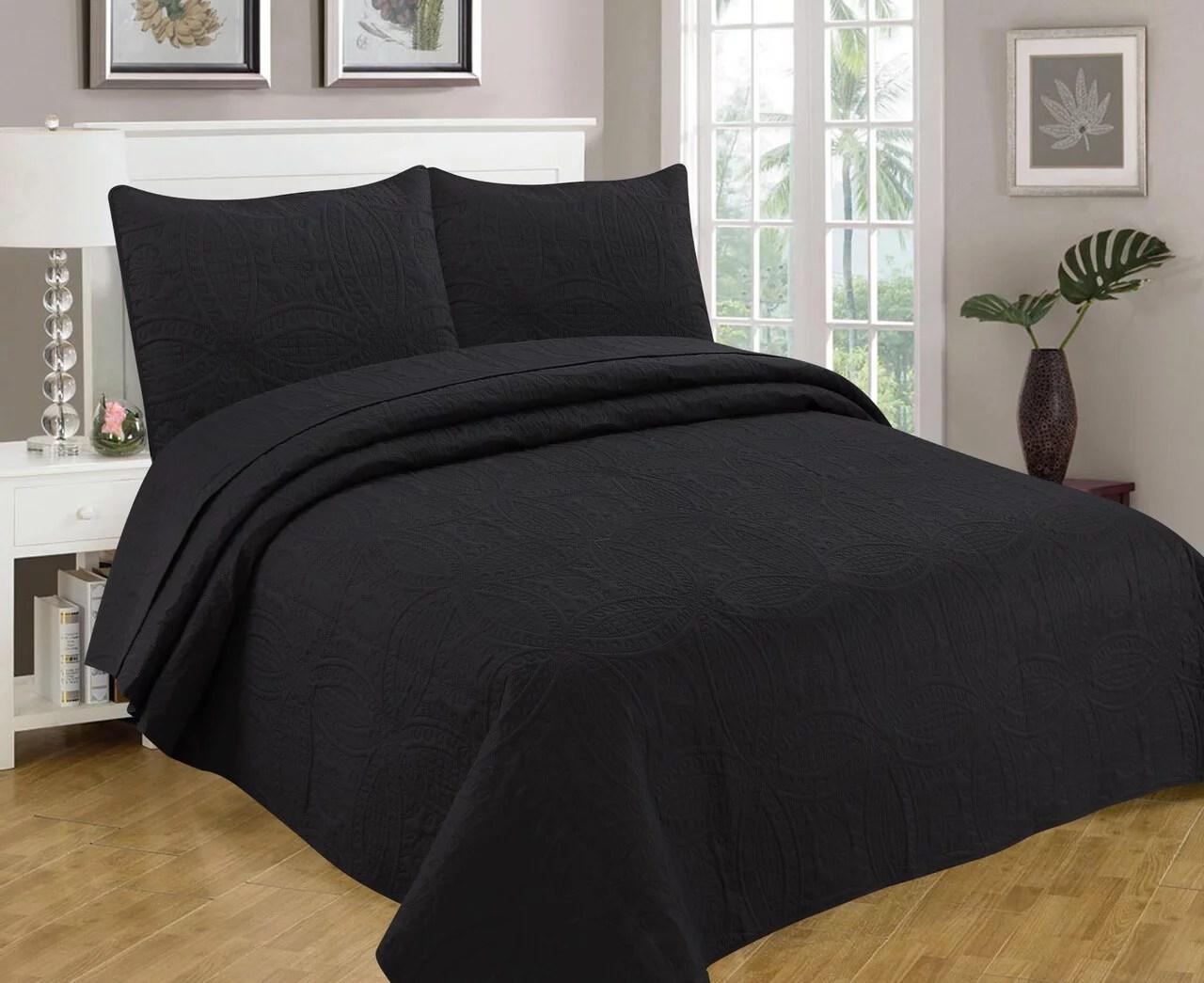 bedspread coverlet 3 pcs set oversized 118 x 106 king size black color walmart com