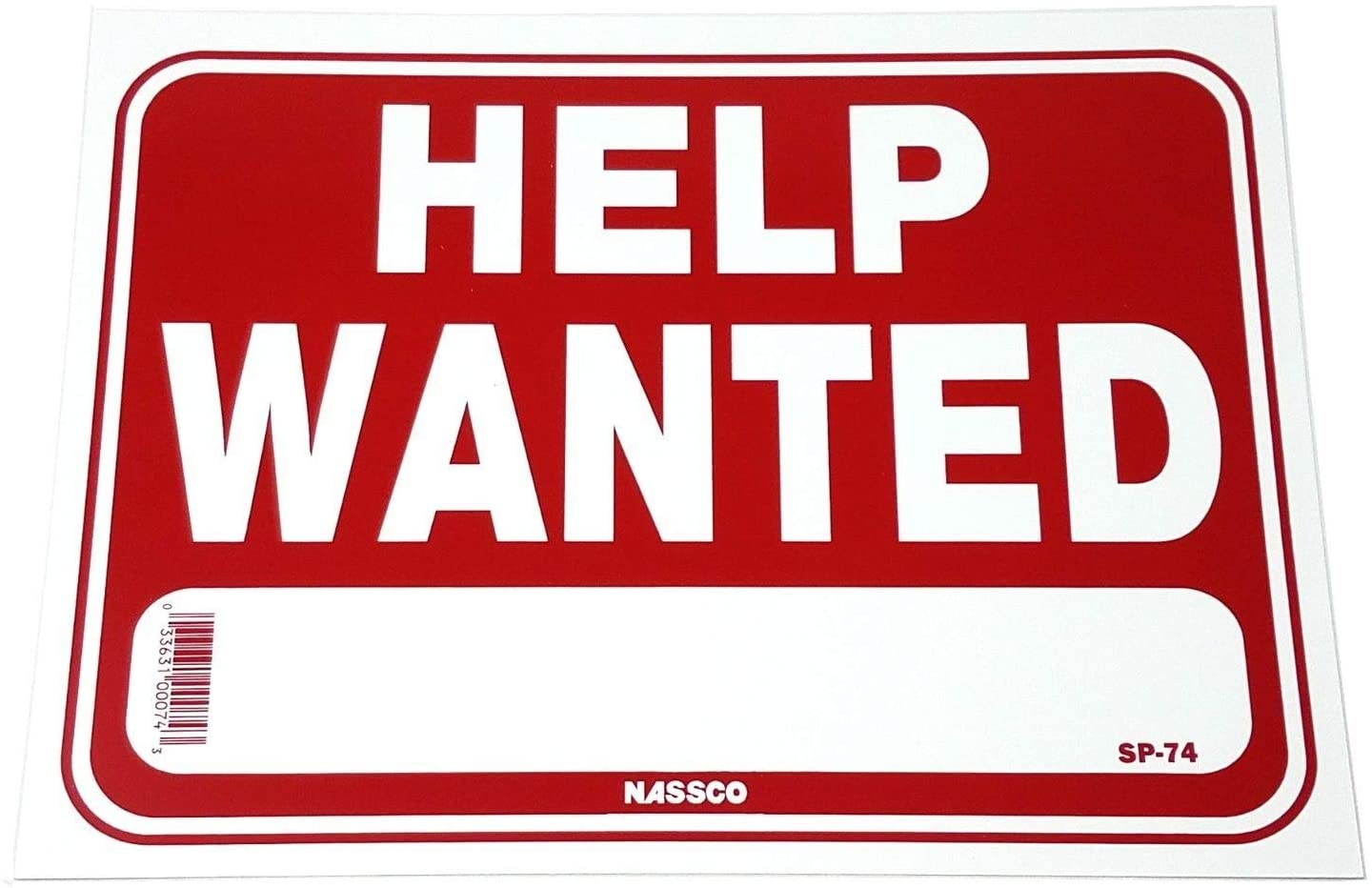 Help Wanted Business Policy Window Sign With Blank Space