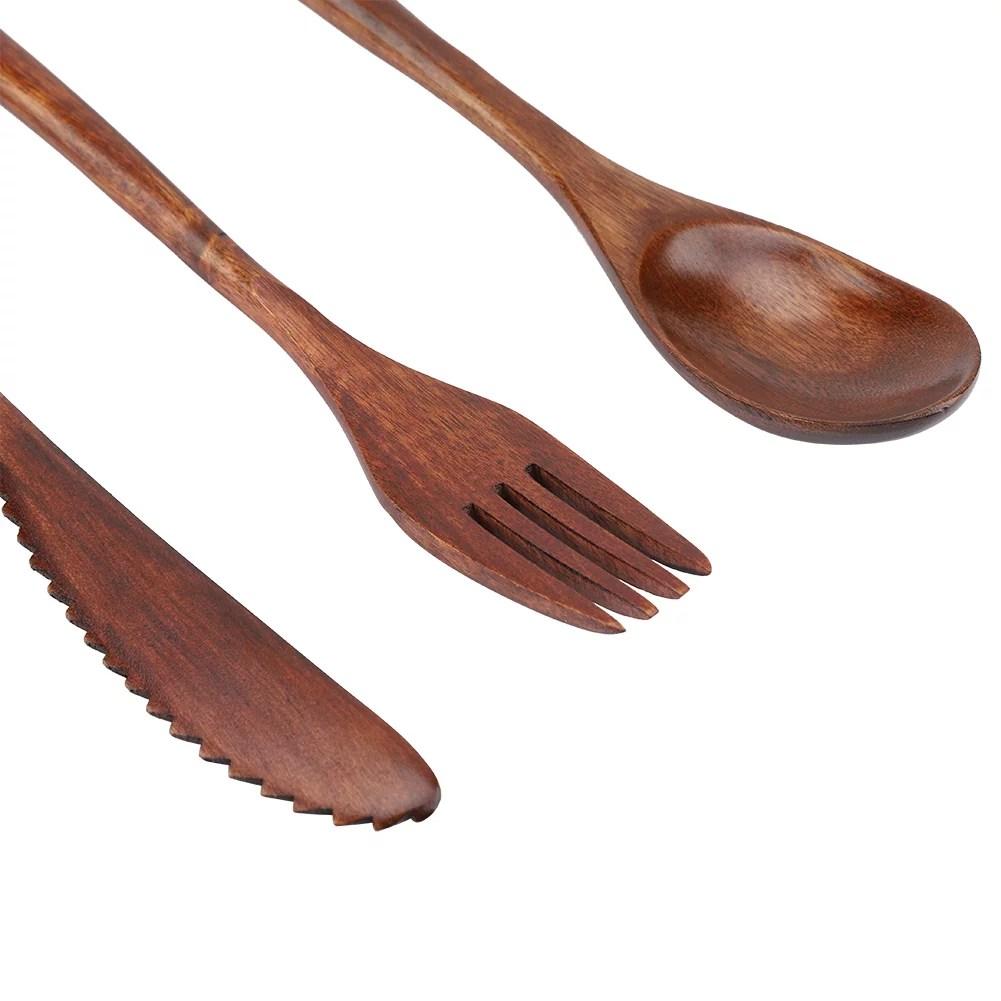 ensemble de vaisselle en bambou reutilisable de style japonais couteau et fourchette et cuillere uniquement