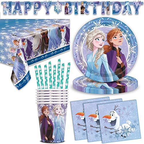 Disney Frozen 2 Birthday Party Supplies 16 Servings Large Paper Plate Cups Napkins Happy Birthday Banner Table Cover Great Tableware Set For Frozen Ii Themed Parties And Decoration Walmart Com Walmart Com
