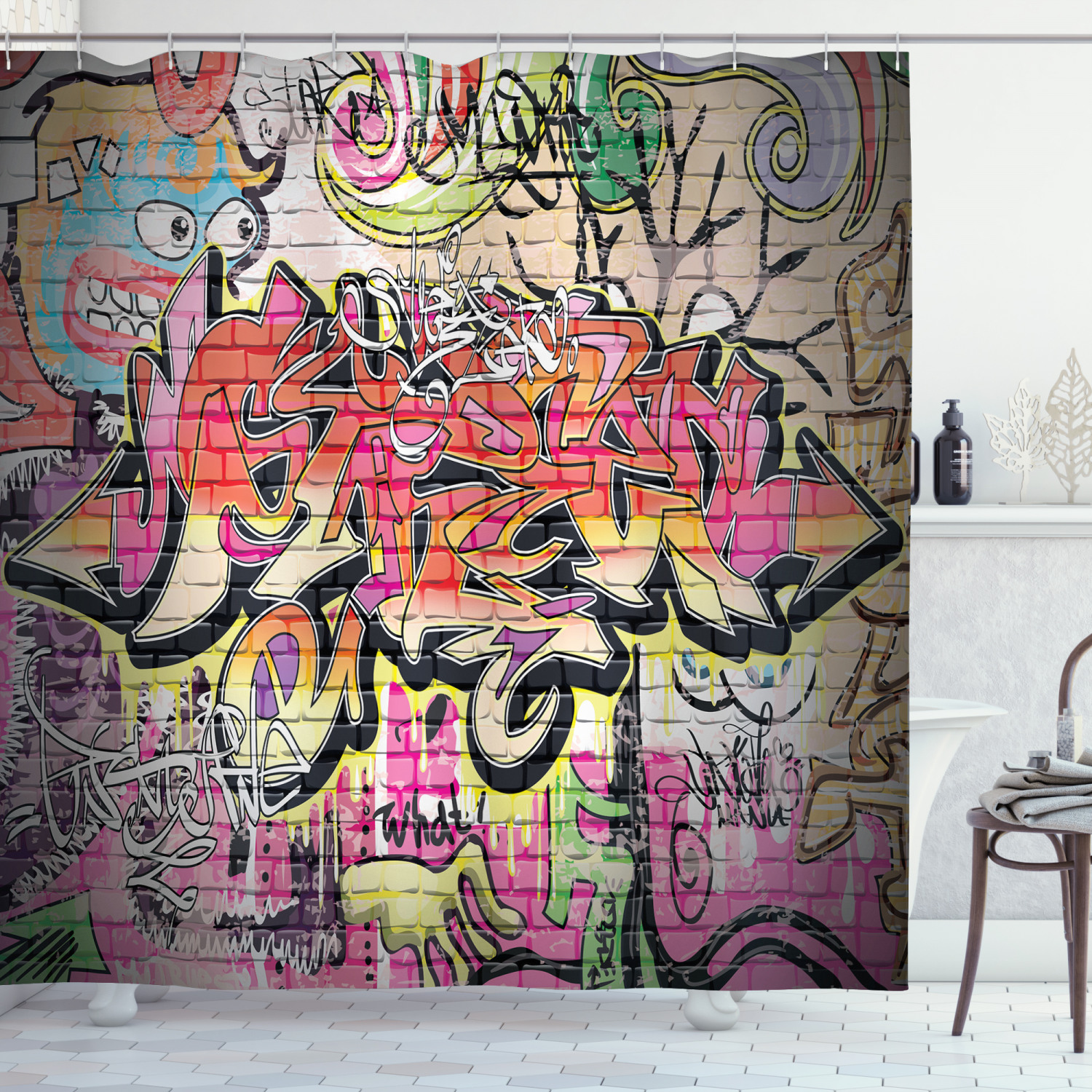 urban graffiti shower curtain wild style complex creative surreal worlds of graffiti comics and paintings fabric bathroom set with hooks 69w x 75l
