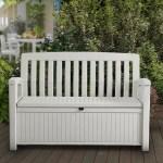 Keter 60 Gallon Storage Bench Resin Outdoor Storage Furniture Seats 2 White Walmart Com Walmart Com