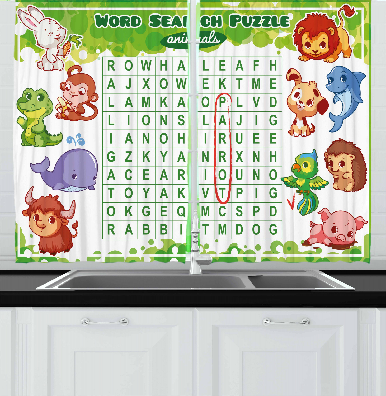 Word Search Puzzle Curtains 2 Panels Set Educational Game