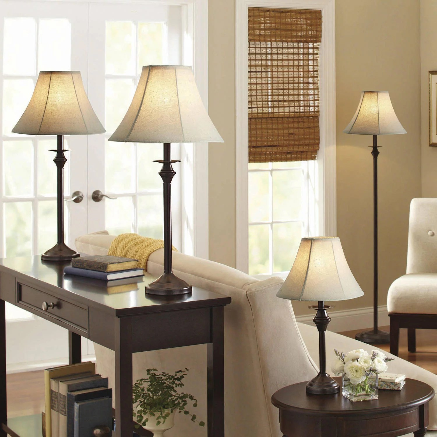 Details About Living Room 4 Piece Lamp Set Floor Table Accent Lamps Leather Shade Light Decor