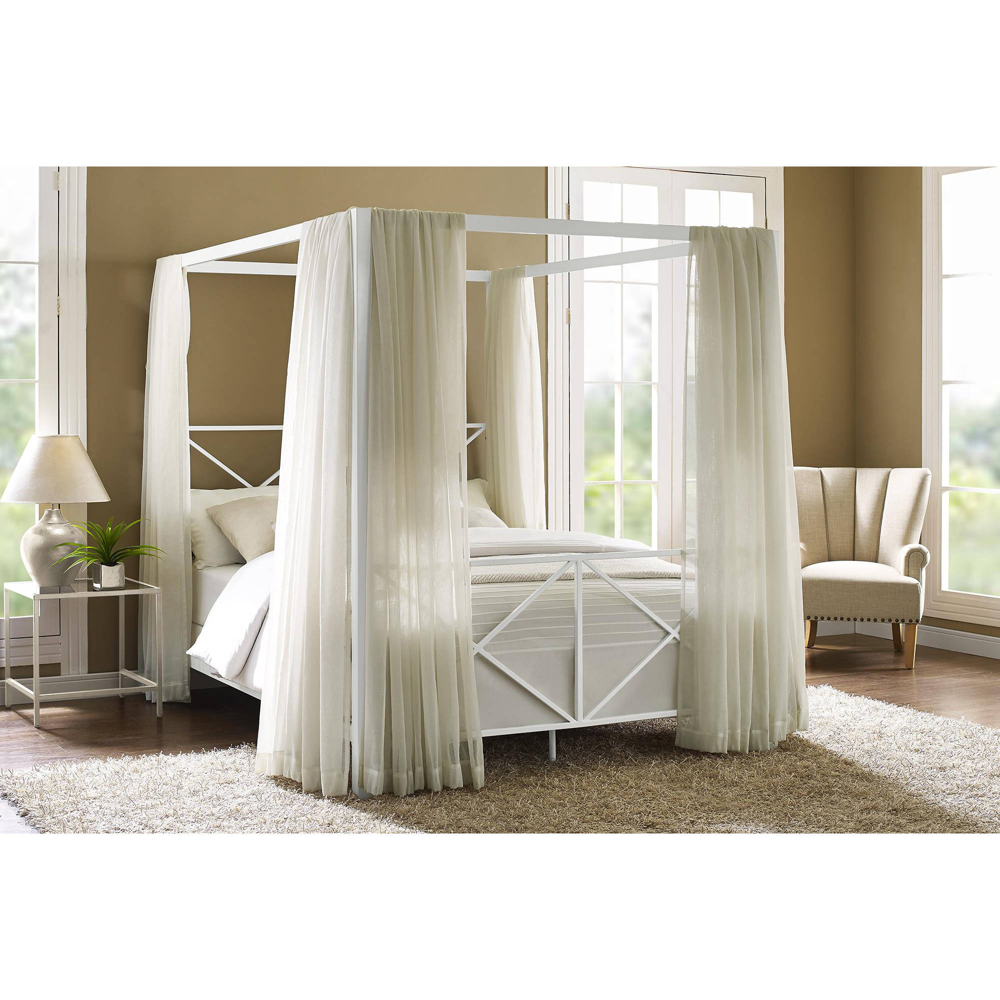 Canopy Queen Bed 4 Corners Post Bed Curtain Canopy