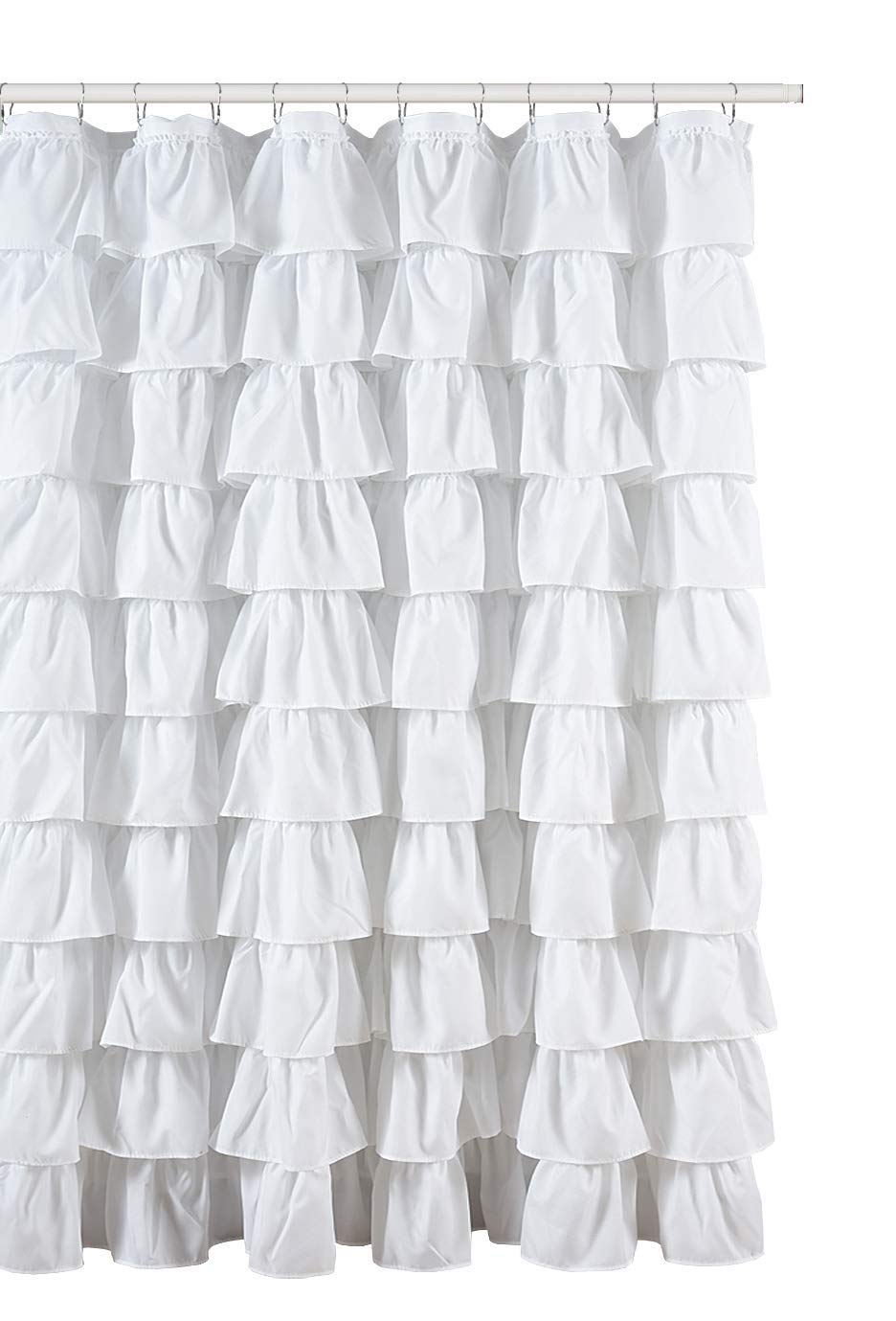 Ruffled White Fabric Shower Curtain Walmart Com Walmart Com