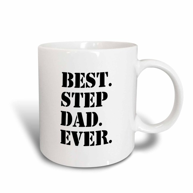 3dRose Best Step Dad Ever - Gifts for family and relatives - stepdad - stepfather - Good for Fathers day, Ceramic Mug, 15-ounce