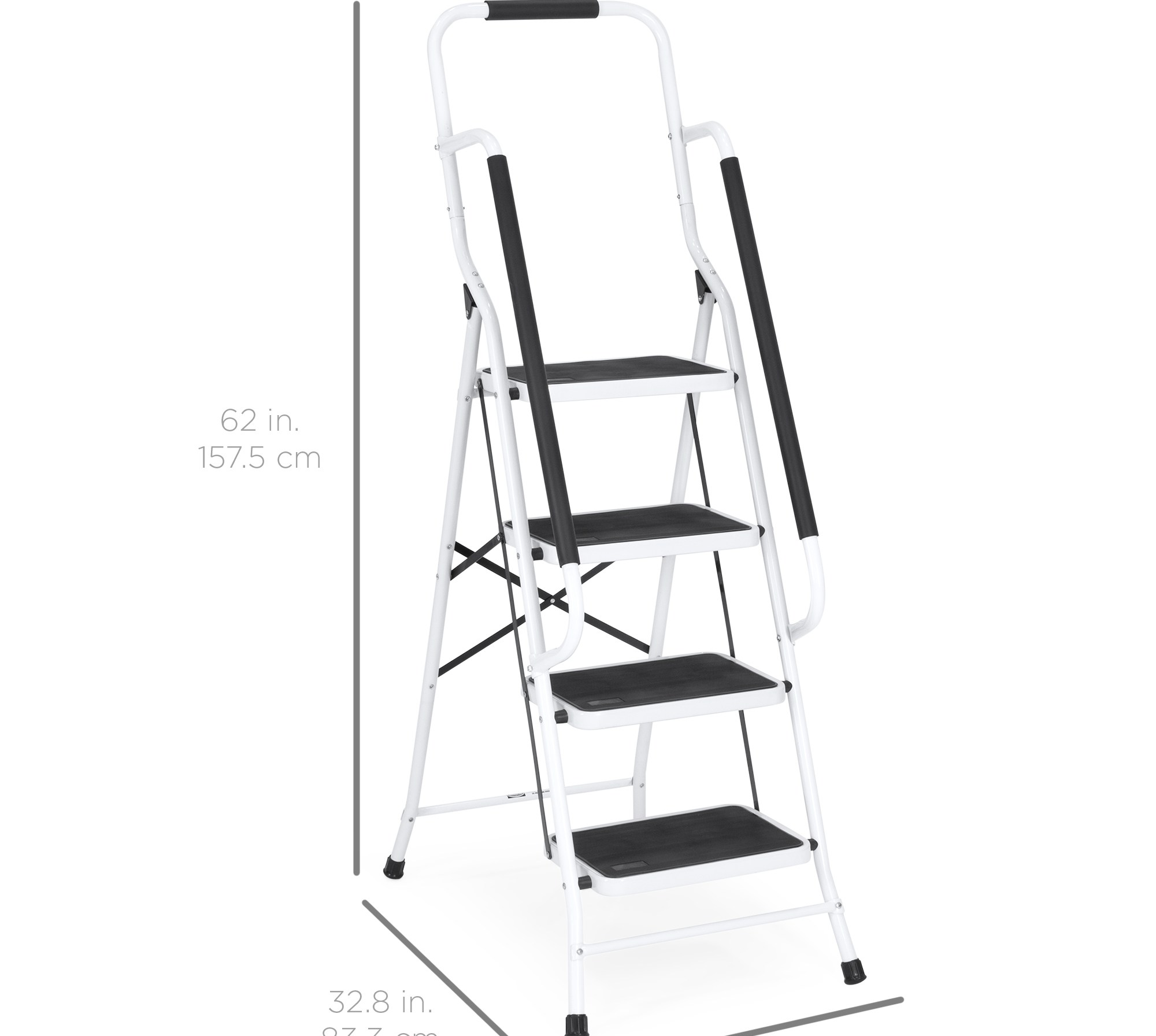 Best Choice Products 4 Step Portable Folding Anti Slip Steel   Portable Steps With Handrail   3 Step   Free Standing   Camper   Stair   Safety Step Ladder 4 Step