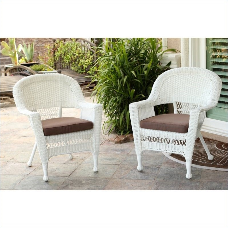 jeco wicker chair in white with tan cushion set of 2