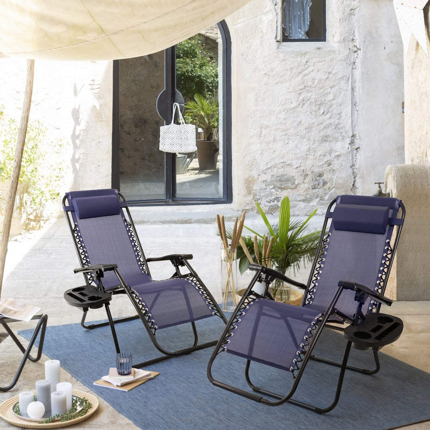 vineego zero gravity chair set of 2 camp reclining lounge chairs outdoor lounge patio chair with adjustable pillow 2 pack blue