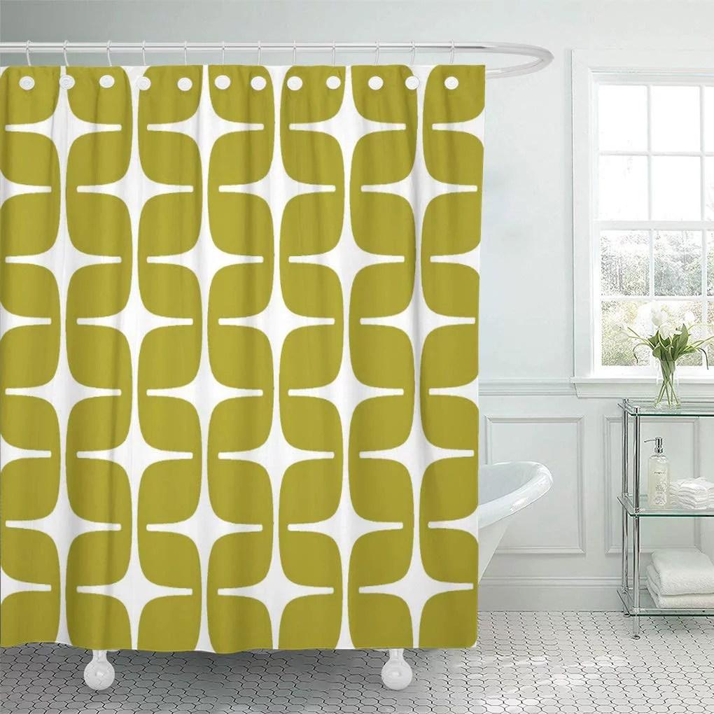 suttom modern mod rectangle pattern chartreuse green abstract geometric retro shower curtain 60x72 inch walmart com