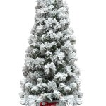 4ft Flocked Pot Christmas Tree Walmart Com Walmart Com