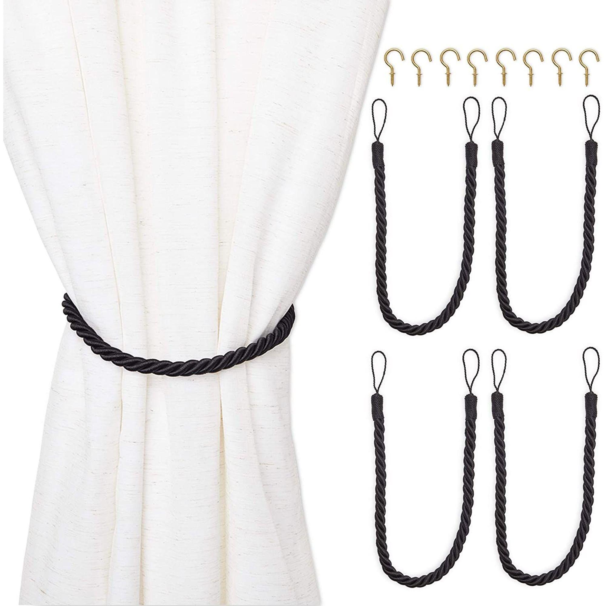 4 pack black cotton window curtain tiebacks tie back with 8 hooks 26 holdbacks rope for drapes