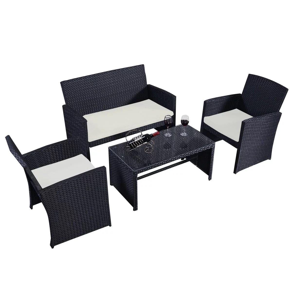 goplus 4 pc rattan patio furniture set garden lawn sofa wicker cushioned seat black walmart com