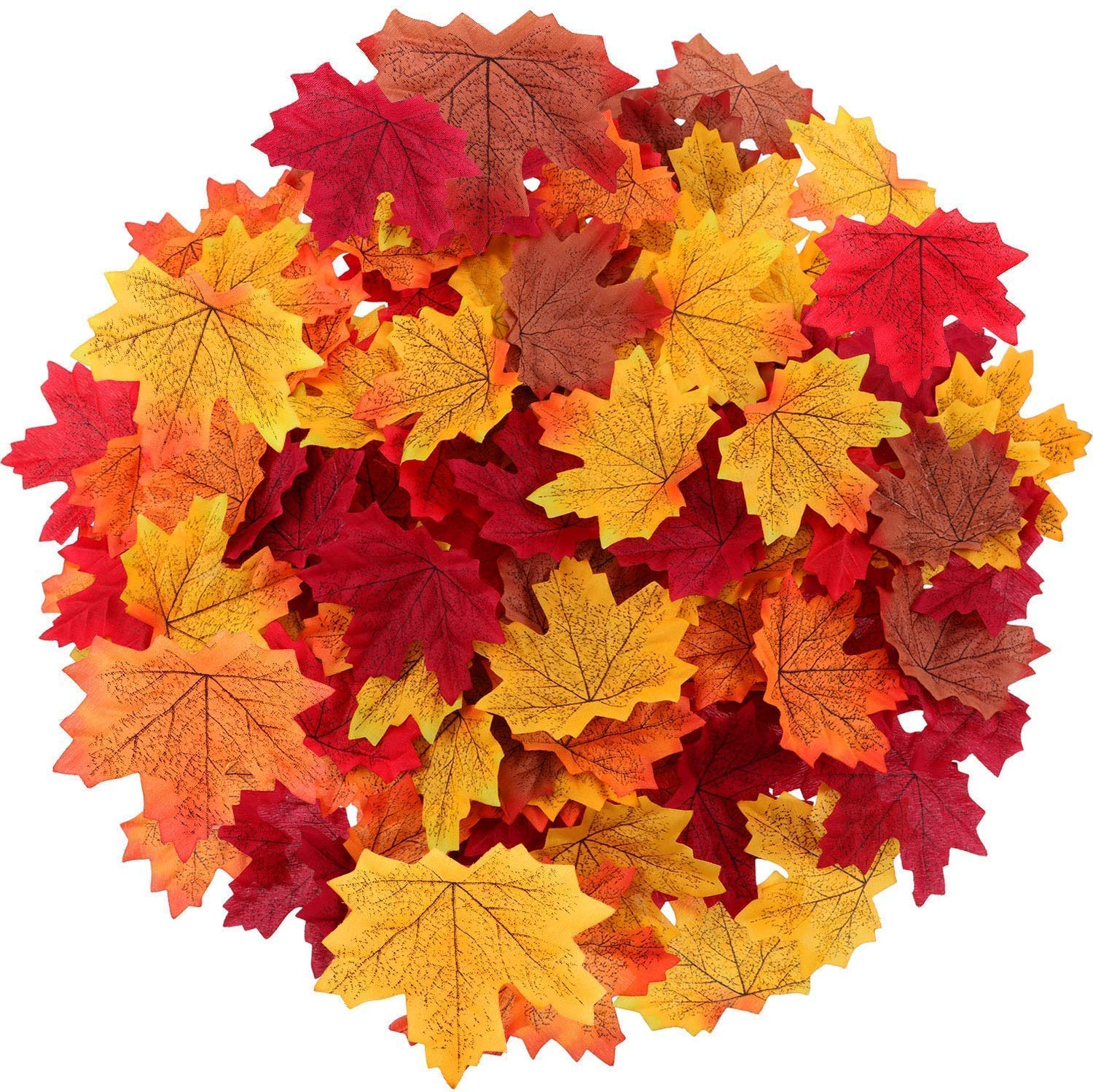 350 Pcs 7 Colors Artificial Maple Leaves Fall Leave Mixed