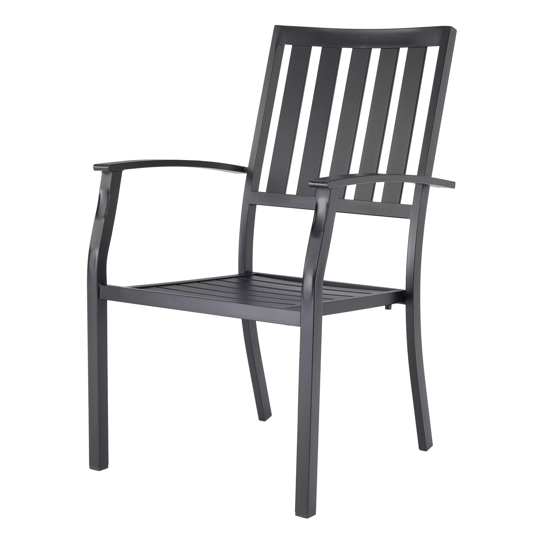 better homes gardens milport brand outdoor patio dining arm chair black metal slats walmart com