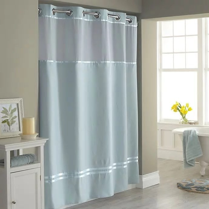 hookless escape 71 inch x 86 inch long fabric shower curtain and liner set in blue
