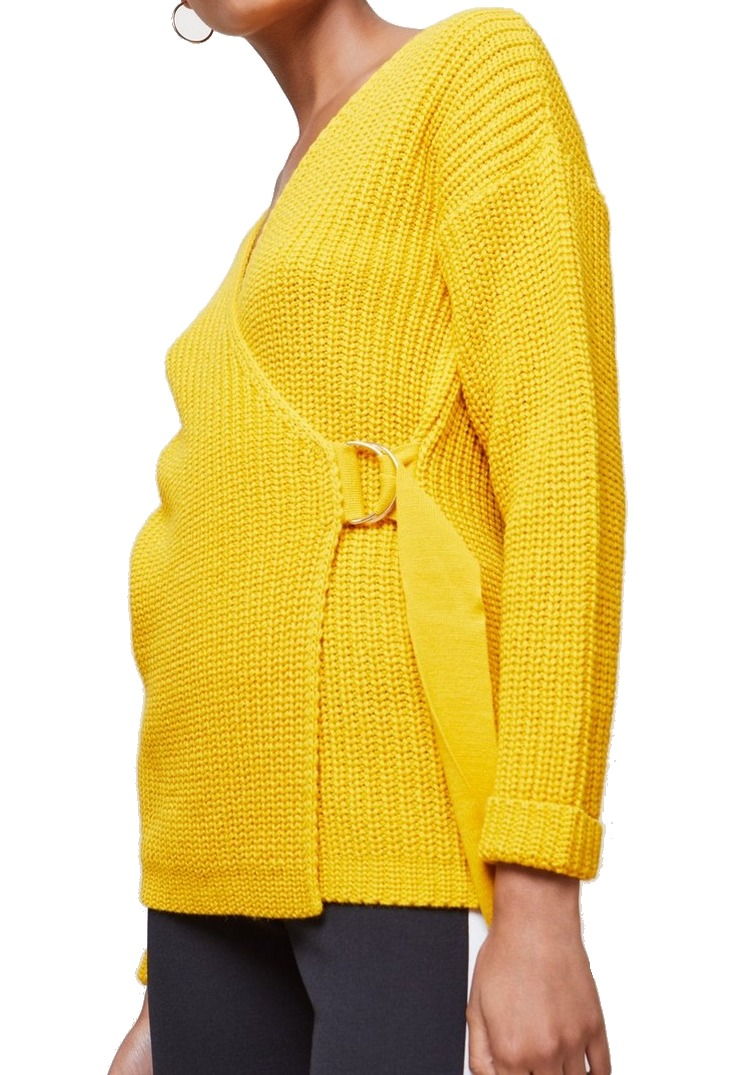 Womens Chunky Wrap Sweater Ochre D-Ring Knit 4