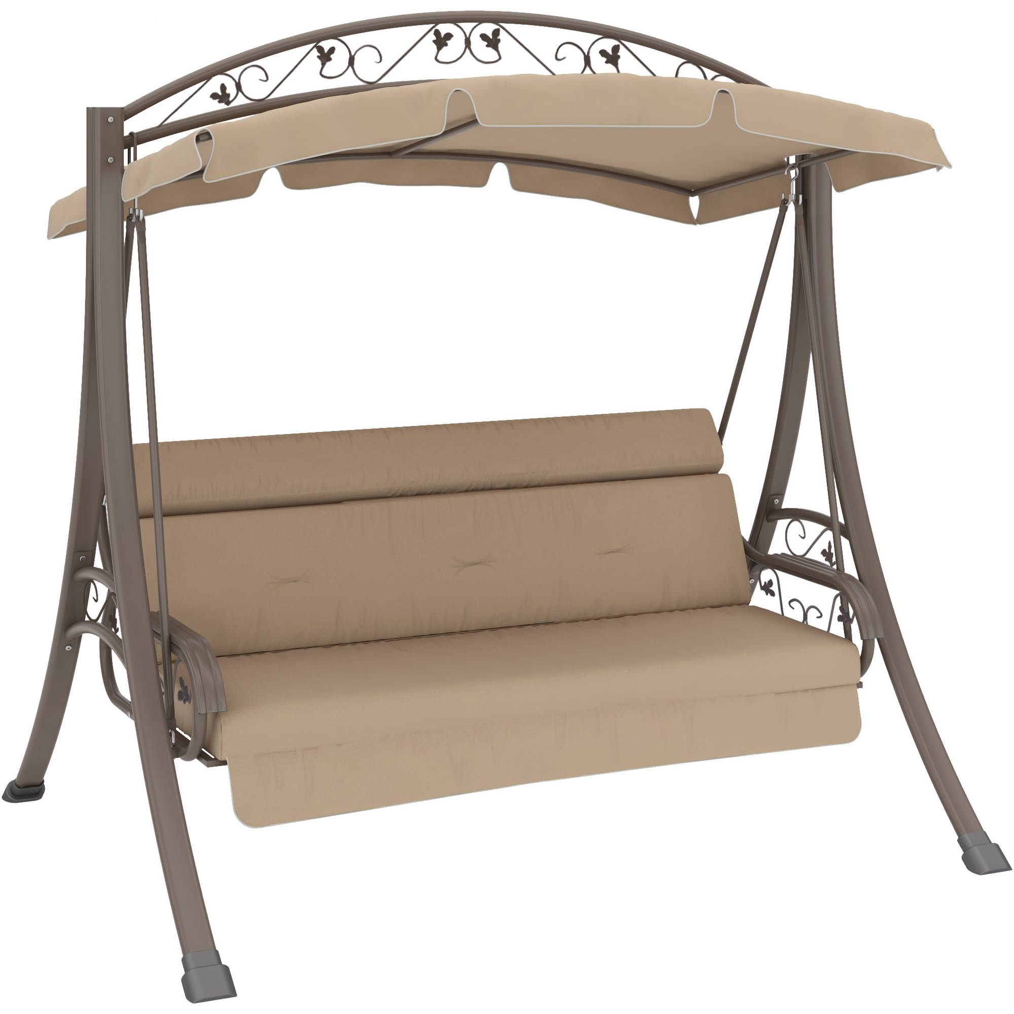CorLiving Nantucket Patio Swing With Arched Canopy Beige