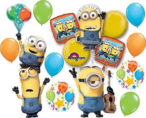 Despicable Me Party Supplies Happy Birthday Minions Balloon Bouquet Decorations Walmart Com Walmart Com