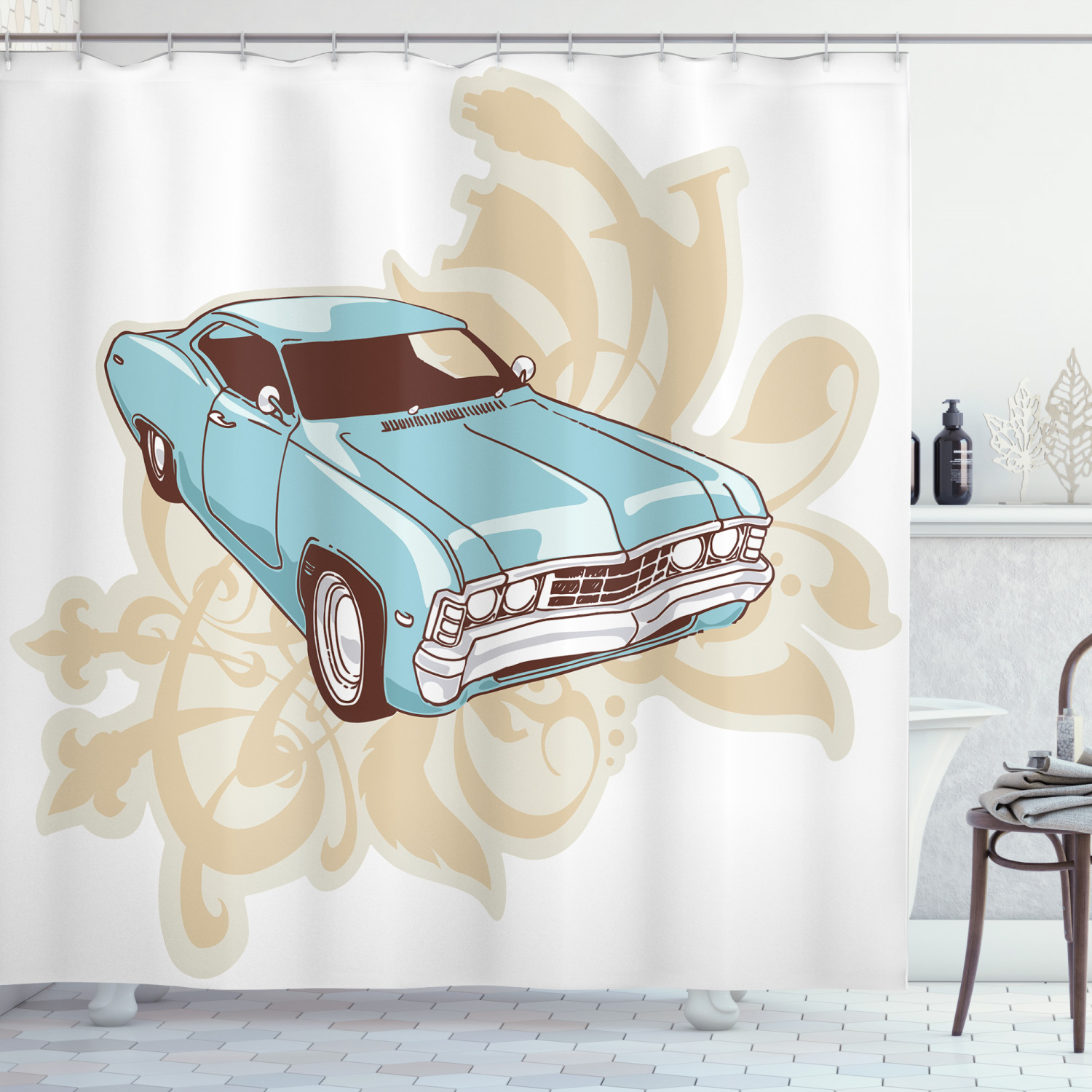 cars shower curtain classical sport car with abstract design in the background retro style vehicle fabric bathroom set with hooks 69w x 84l inches