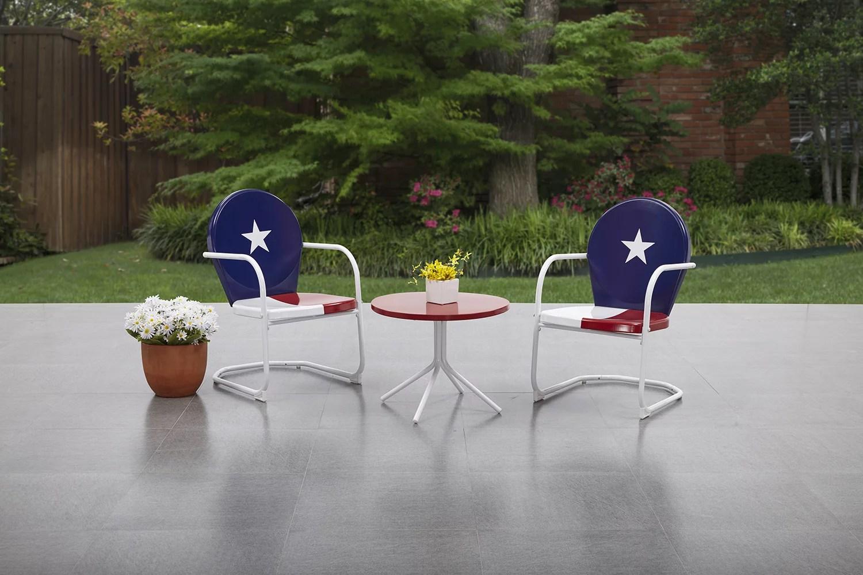 mainstays retro bistro metal patio set 3 piece texas themed