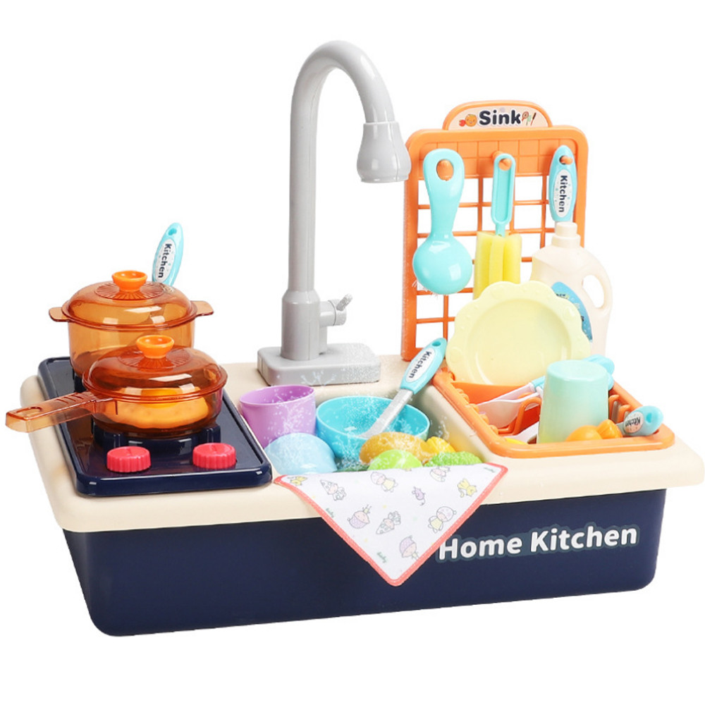 vanlofe entertainment kitchen sink play set with running water pretend play toy for boys and girls kids kitchen role play dishwasher toys