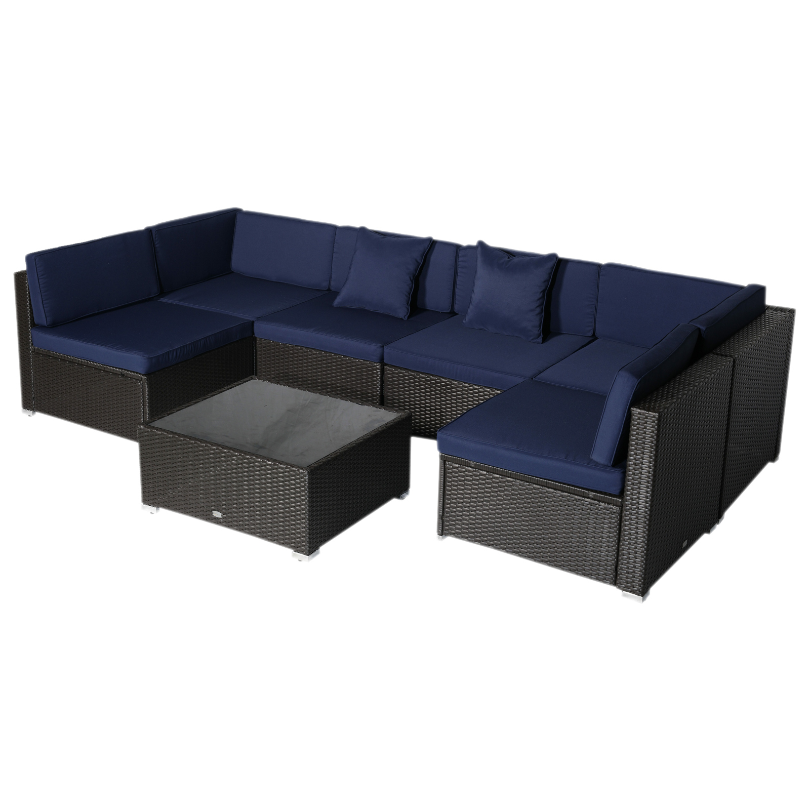 outsunny 7 piece outdoor wicker patio sofa set modern rattan conversation furniture set with cushions pillows and tea table walmart com