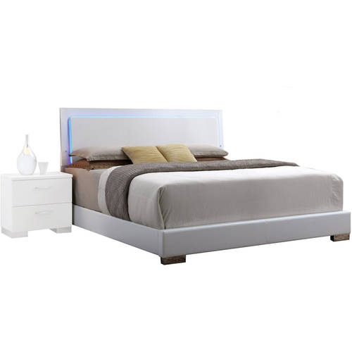 acme lorimar queen bed with led headboard white pu
