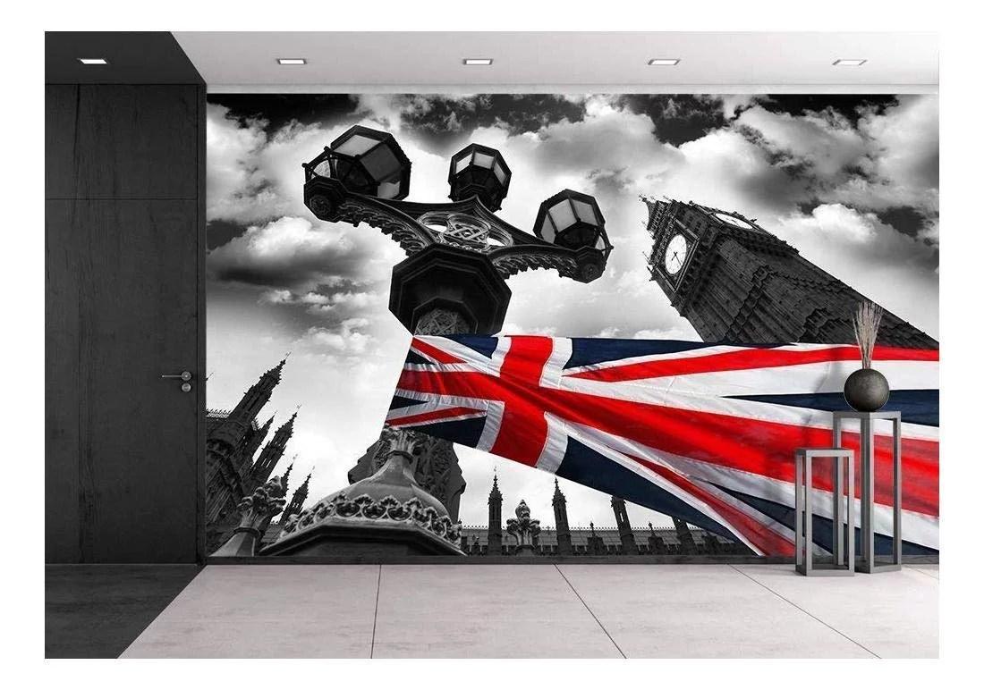 Wall26 Big Ben With Flag Of England London Uk Removable Wall Mural Self Adhesive Large Wallpaper 100x144 Inches Walmart Com Walmart Com