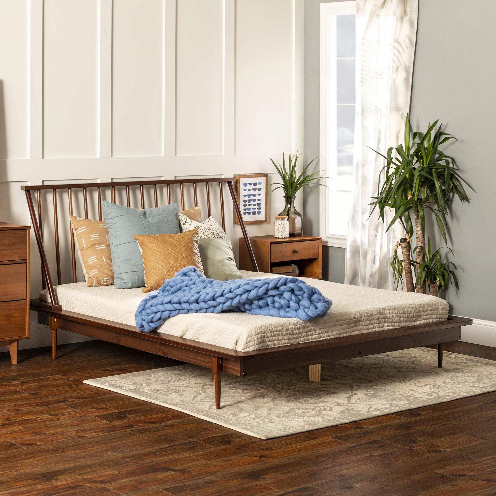 Manor Park Solid Wood Modern Walnut Queen Spindle Bed Walnut Walmart Com Walmart Com