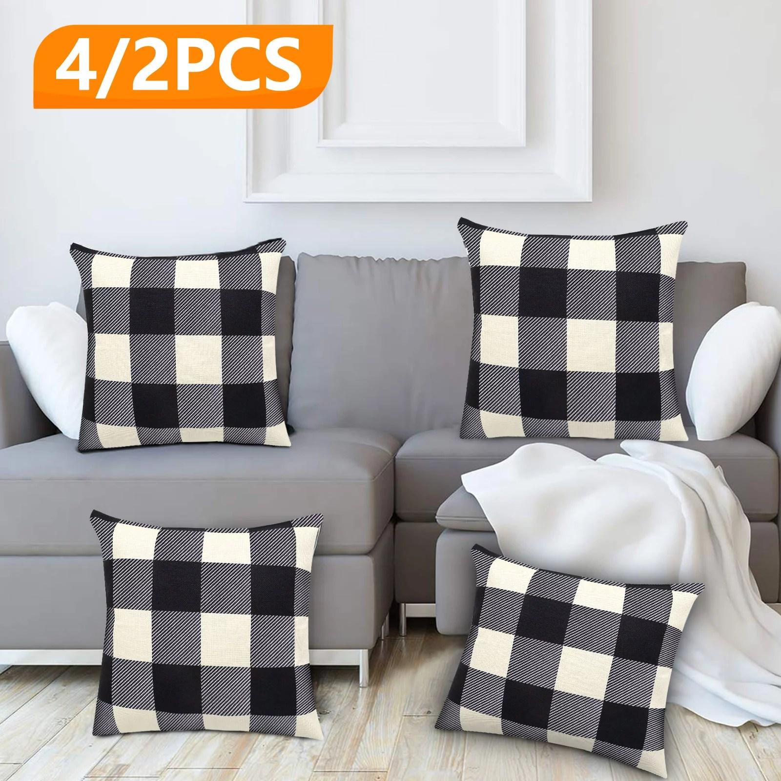 eeekit farmhouse decor pillow covers 18 x18 black white buffalo checkered plaid throw pillow covers set of 4 2 tartan linen soft cushion covers for
