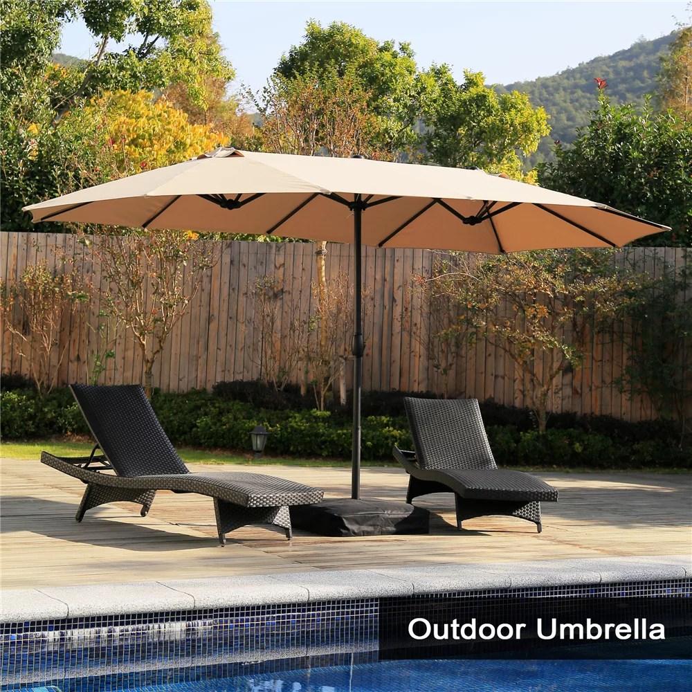 15 ft market outdoor umbrella double sided aluminum table patio umbrella with crank beige walmart com