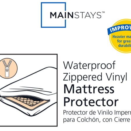 Mainstays Waterproof Zippered Vinyl Mattress Protector White