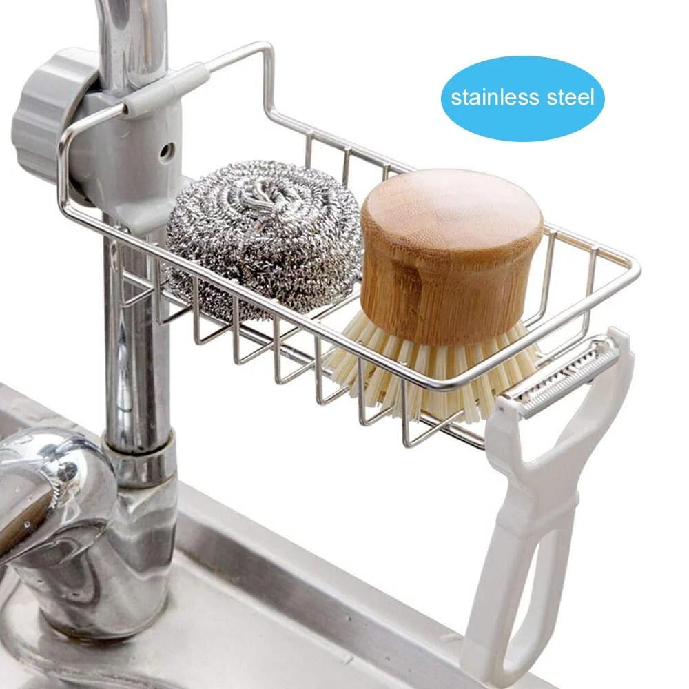 amerteer faucet rack storage rack kitchen sink organizer stainless steel sink faucet sponge holder sink caddy organizer for kitchen bathroom