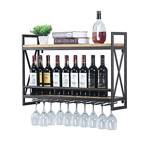 industrial wine racks wall mounted with 8 stem glass holder 31 5in rustic metal hanging wine holder wine accessories 2 tiers wall mount bottle holder