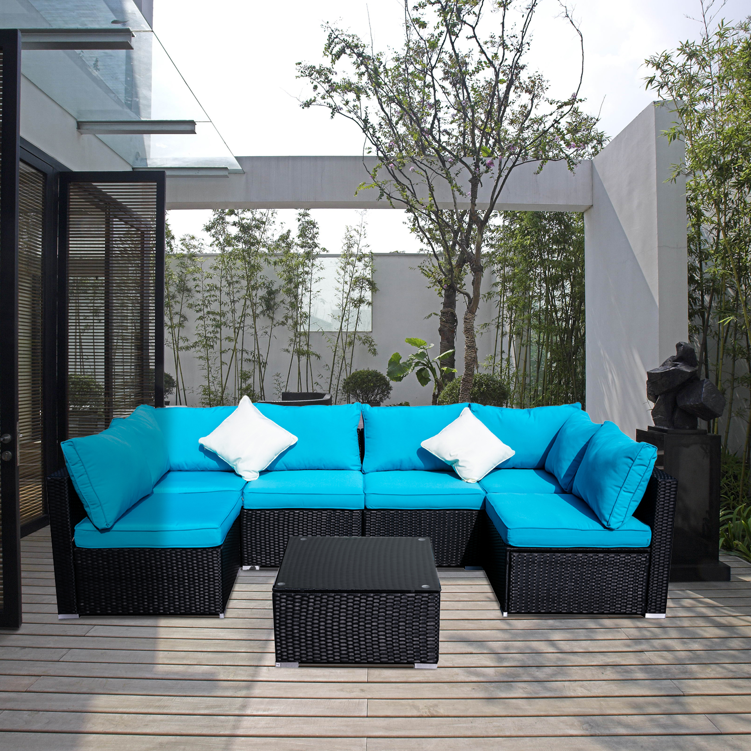 ainfox outdoor patio furniture on clearance 7 pieces pe rattan wicker sectional sofa sets with blue pillows cushions white pillows walmart com