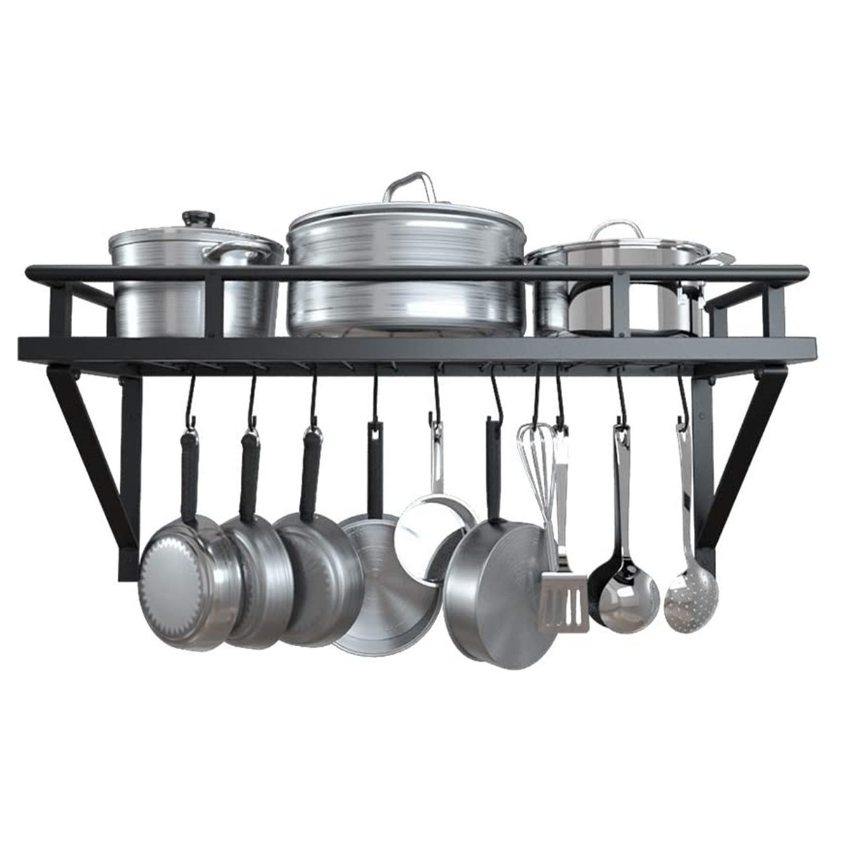 black wall pot rack kitchen wall mount pot pan rack with hooks pots and pan rack decorative wall mounted storage hanging rack iron shelf organizer for