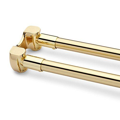naiture 60stainless steel curved double shower curtain rod polished brass finish