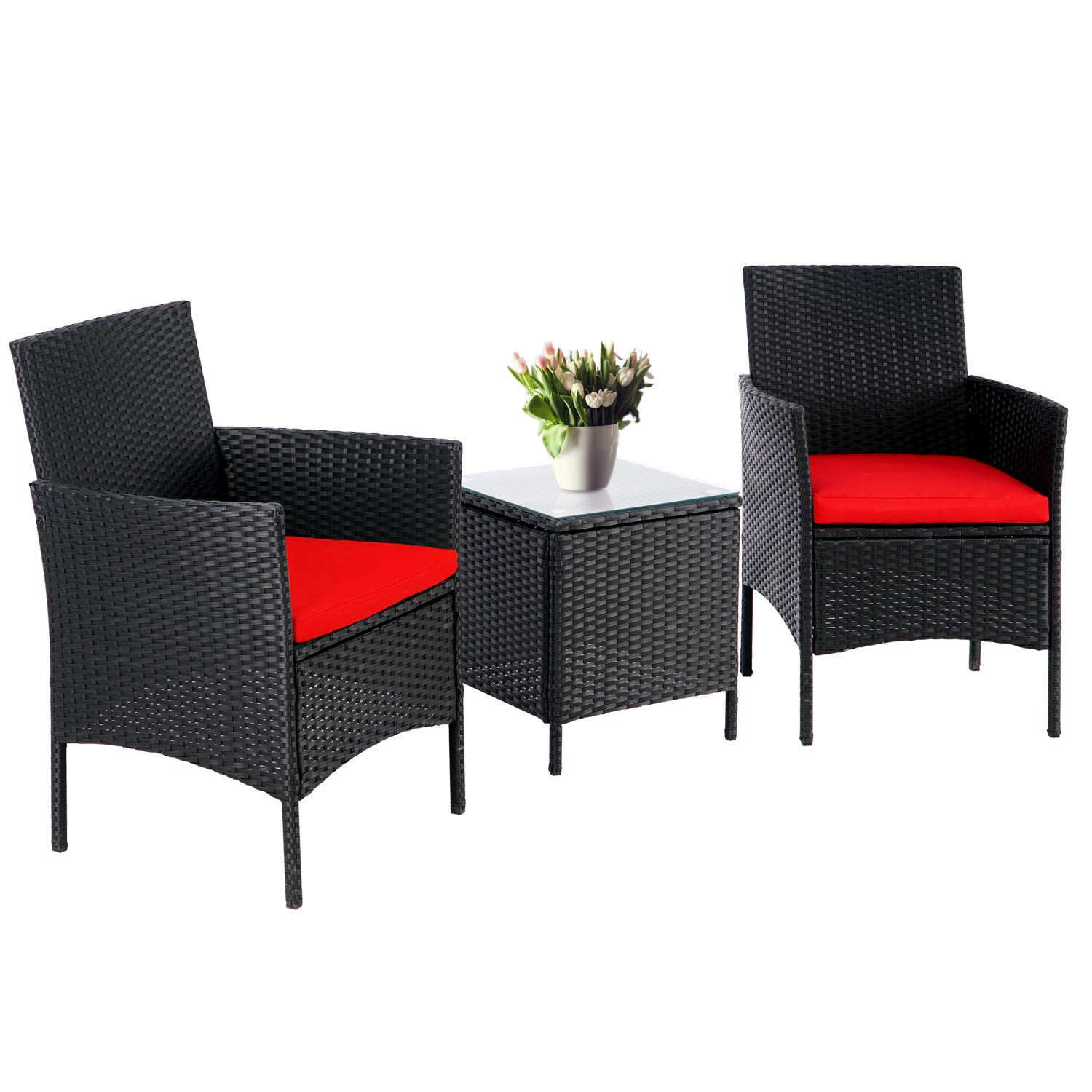 suncrown 3 piece patio outdoor bistro furniture set all weather black wicker chairs and glass side table red cushion