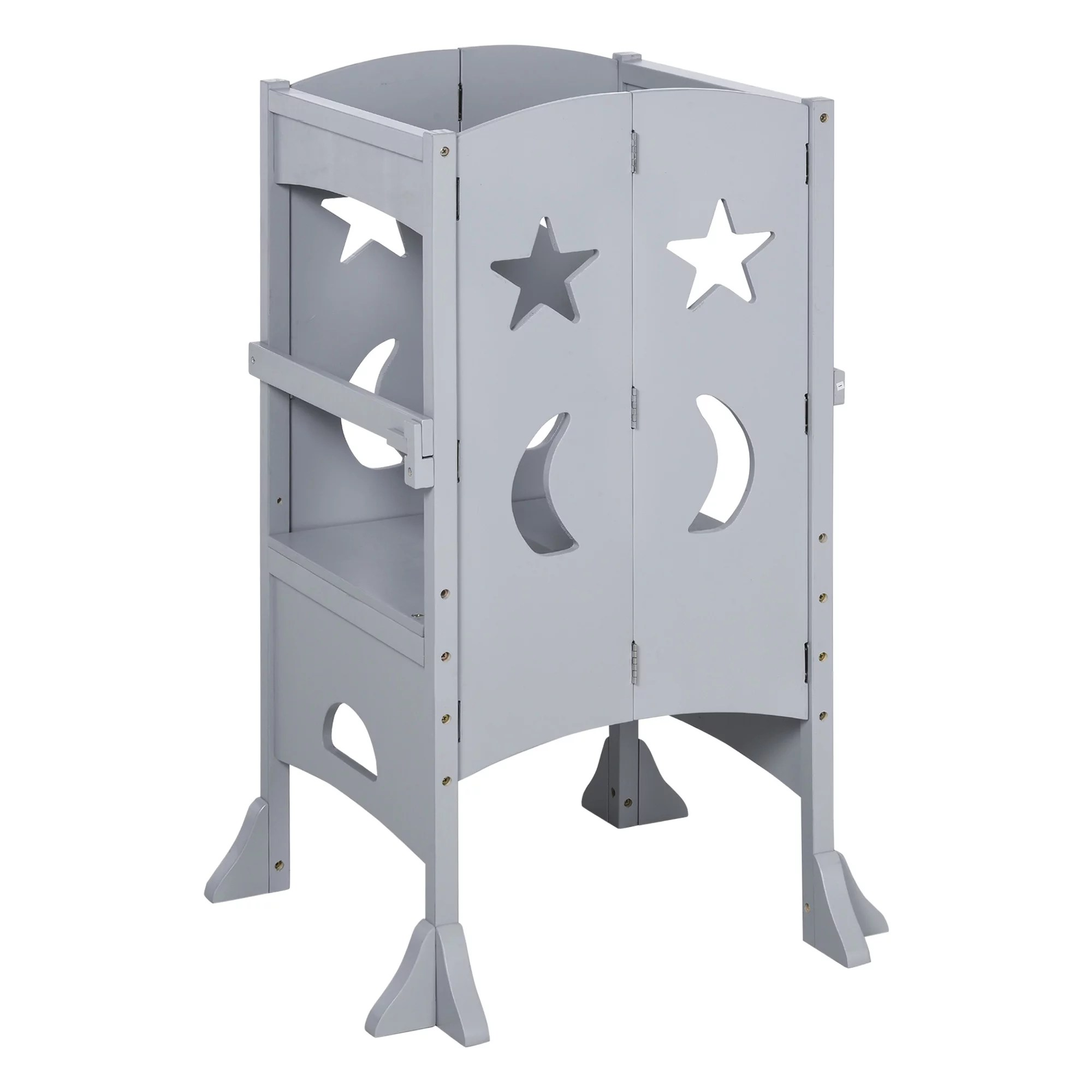 Qaba Kids Kitchen Helper Foldable Step Stool With Support