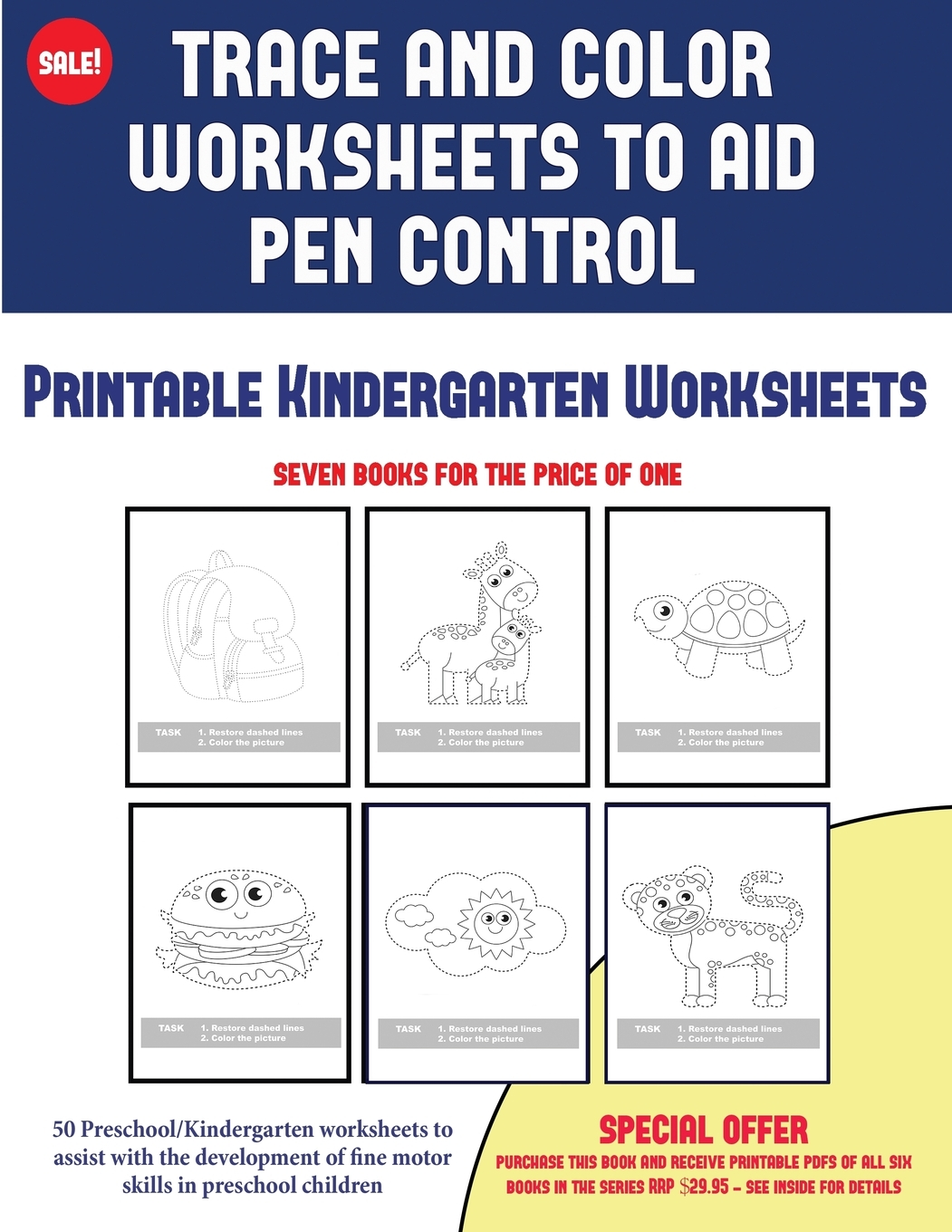 2 Printable Kindergarten Worksheets Trace And Color