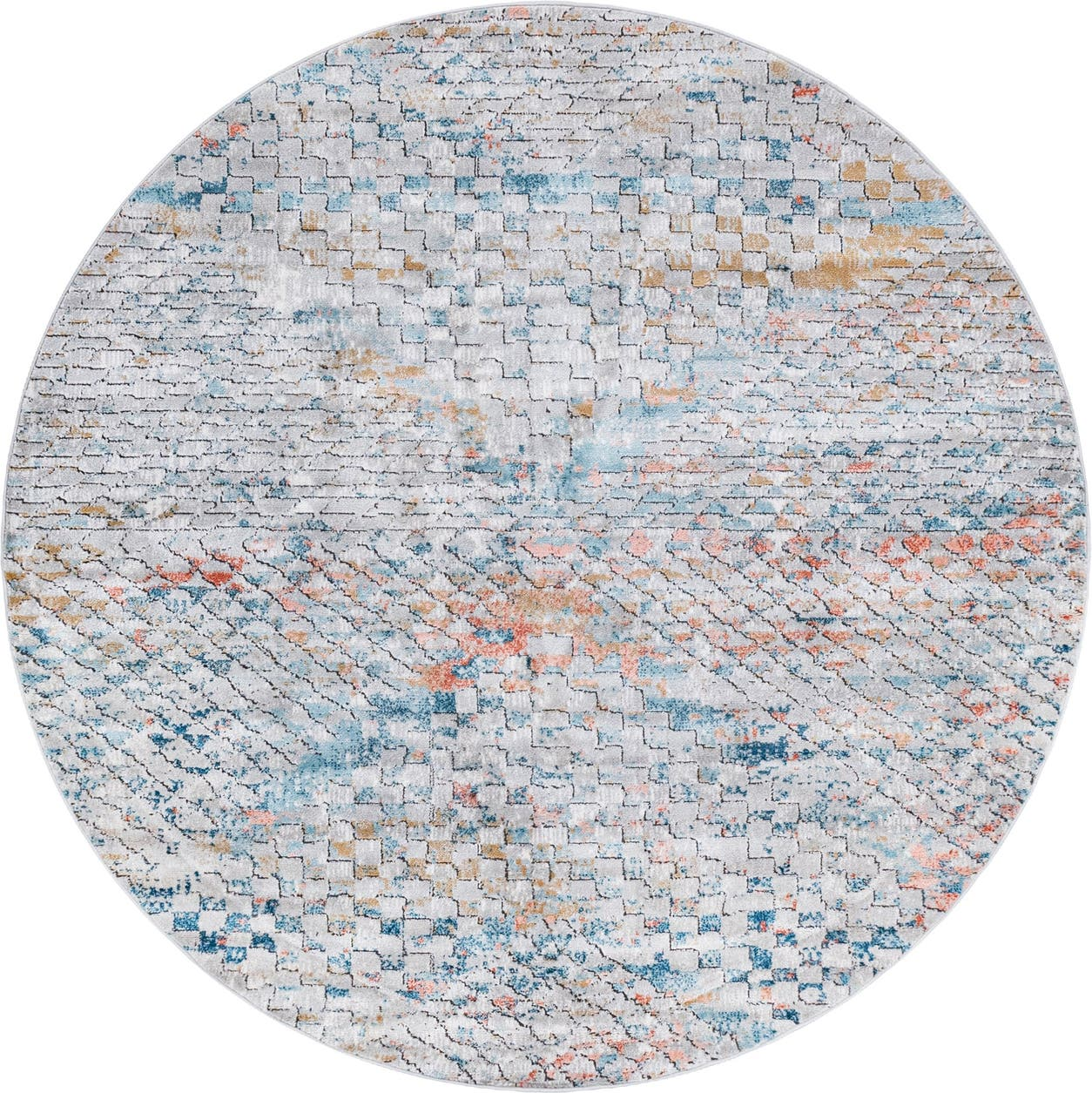 Rugs Com Leipzig Collection Round Rug Ai 7 Ft Round Multi Low Pile Rug Perfect For Kitchens Dining Rooms Walmart Com Walmart Com