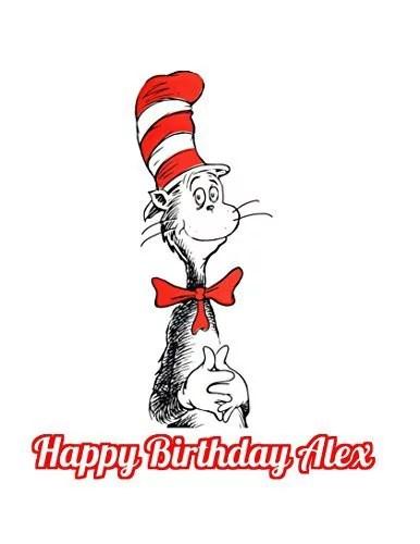 1 4 Sheet Dr Seuss Cat In The Hat Edible Frosting Cake Topper Abpid06919 Walmart Com Walmart Com